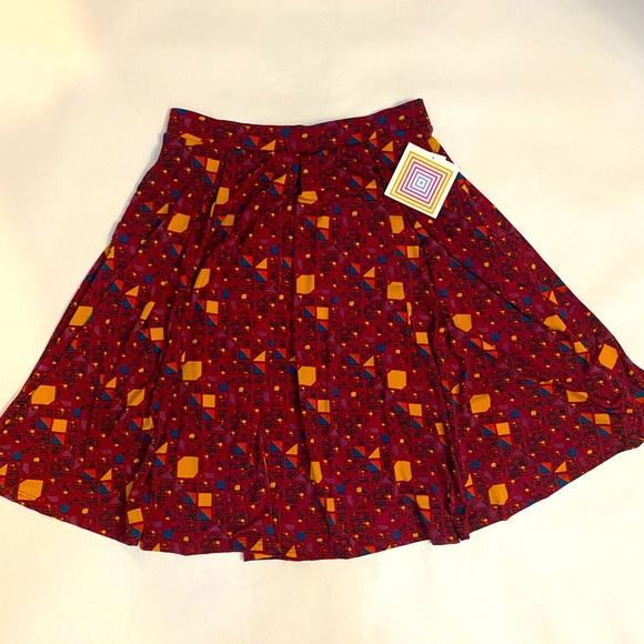 Lularoe Floral Print Madison Pleated Knit Skirt